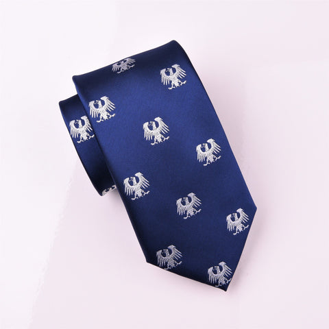 B2B Shirts - White Coat of Arms German Eagle Blue Regular Woven Tie 8cm - Business to Business