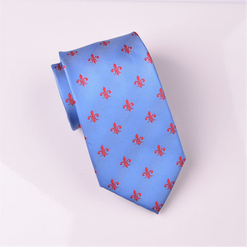 B2B Shirts - Blue Patterned 8cm Woven Tie with Red Fleur-De-Lis Floral Luxury Fashion - Business to Business
