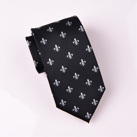 B2B Shirts - White Fleur-De-Lis Black Italian Designer Luxury Regular Tie 8cm - Business to Business
