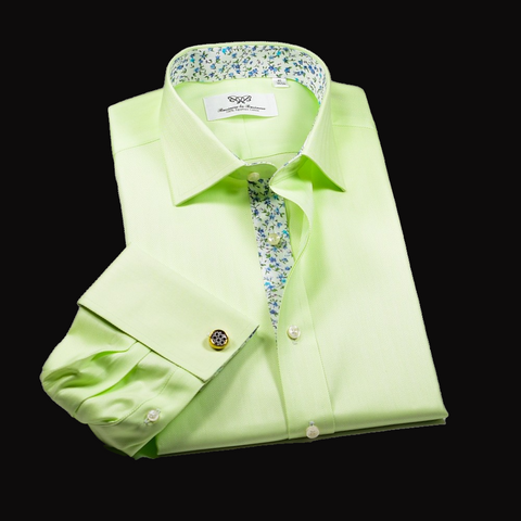 Lime Green Herringbone Twill Formal Business Dress Shirt in French Cuffs