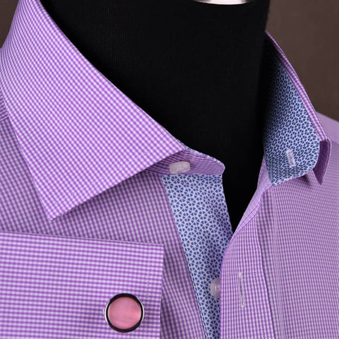 B2B Shirts - Classic Pink Mini Check Professional Dress Shirt in Double Cuff in Size 40 - Business to Business