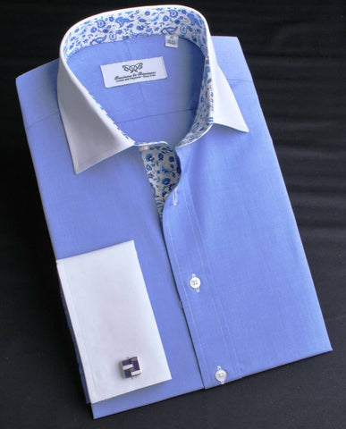 B2B Shirts - Blue Oxford Contrast Cuffs With Floral Inner Lining Professional Dress Shirt in Double Cuff in Size 40 - Business to Business