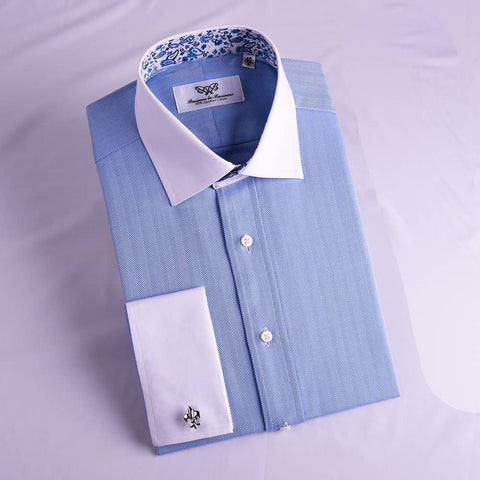 B2B Shirts - Blue Herringbone Contrast Cuff With Paisley Inner Lining Professional Dress Shirt in Double Cuffs in Size 40 - Business to Business