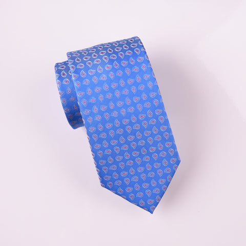 "B2B Shirts - Blue Pink Mini Contour Layered Paisley Modern Woven Tie 3"" - Business to Business"