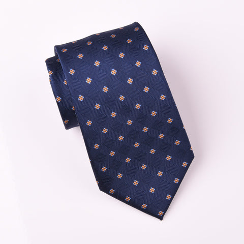 "B2B Shirts - Midnight Blue Herringbone Fade Checkered Yellow Geometric Pattern Modern Woven Tie 3"" - Business to Business"