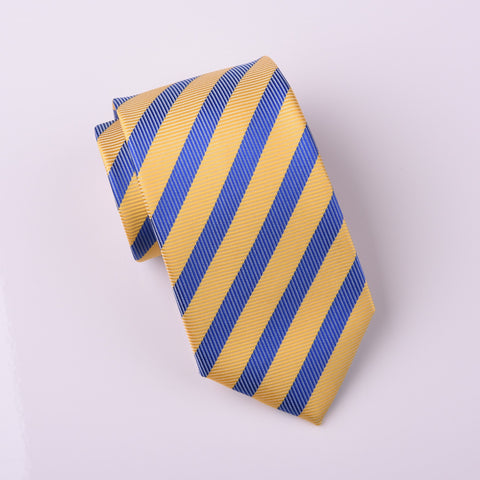 "B2B Shirts - Emperor Yellow With Imperial Blue in Herringbone Twill Striped Geometric Modern Woven Tie 3"" - Business to Business"