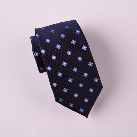 "B2B Shirts - Blue Geometric Diamond Encasing Red Mini Polka Dots Modern Woven Tie 3"" - Business to Business"