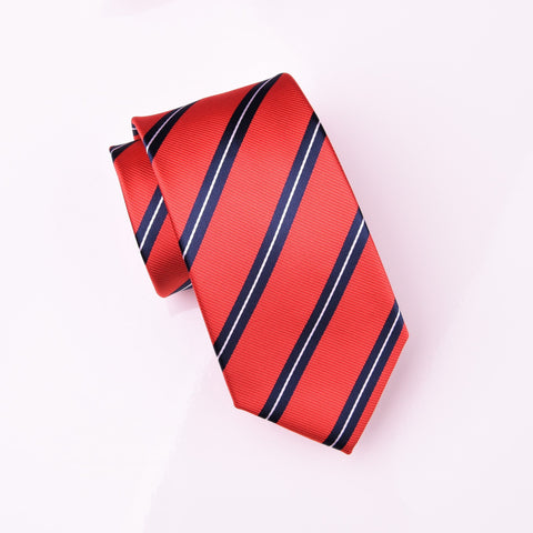 "B2B Shirts - Blue & White Striped Red Twill Formal Business Modern Woven Tie 3"" - Business to Business"
