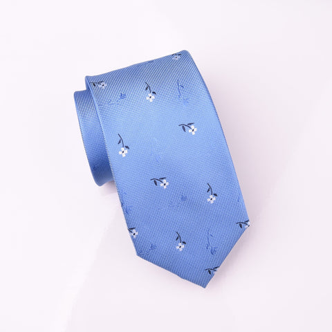 "B2B Shirts - Daisies & Full Roses Floral Blue Modern Woven Tie 3"" - Business to Business"