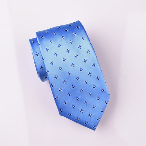 "B2B Shirts - Light Blue Star Diamond Squares Modern Woven Tie 3"" - Business to Business"