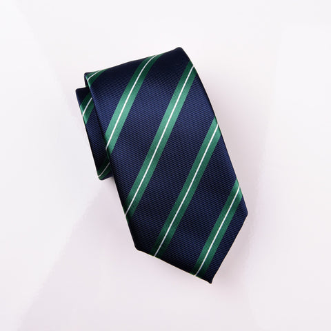 "B2B Shirts - Teal White Striped on Navy Twill Business Modern Tie 3"" - Business to Business"