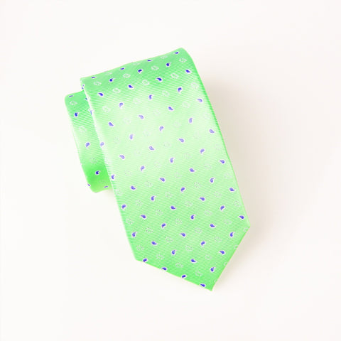 "B2B Shirts - Purple Ego Paisley Droplet Hollow Green Contrast Woven Tie 3"" - Business to Business"