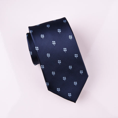 "B2B Shirts - Blue Lucky 4 Leaf Clover Designer Luxury Woven Tie 3"" - Business to Business"