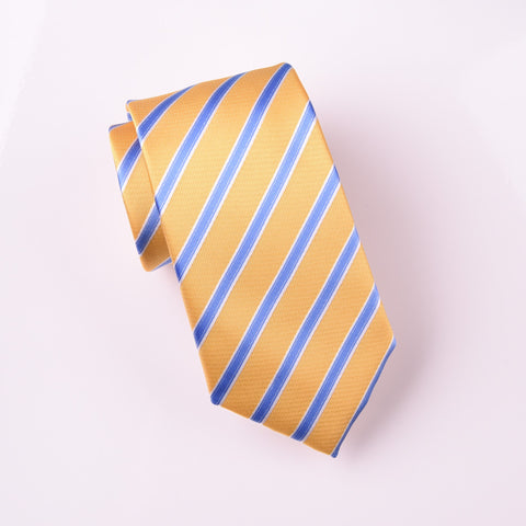 "B2B Shirts - Blue Business Stripe Yellow Luxury Designer Skinny Woven Tie 3"" - Business to Business"