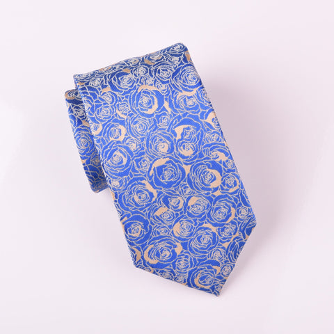"B2B Shirts - Super Lavish Blue Roses Tan Floral Designer Luxury Woven Tie 3"" - Business to Business"