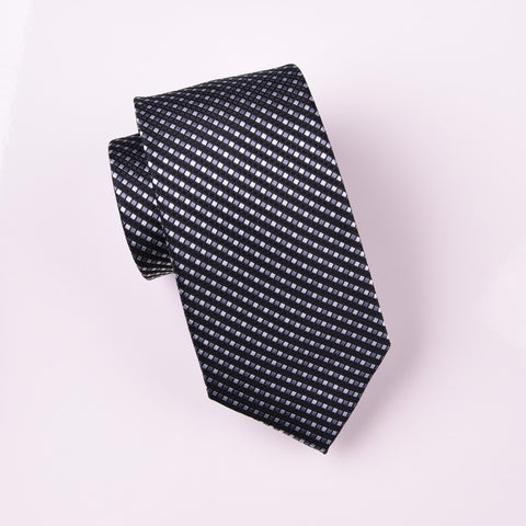 "B2B Shirts - Black Striped Purple Grid Checkered Luxury Fashion Woven Tie 3"" - Business to Business"