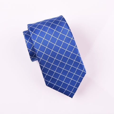 "B2B Shirts - Blue Plaids & Checks Classic Tile Designer Fashion Woven Tie 3"" - Business to Business"