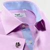 Luxury Lilac Twill With Pair Blue Twill Inner Lining Smart Ego Boss Style Formal Dress Shirt