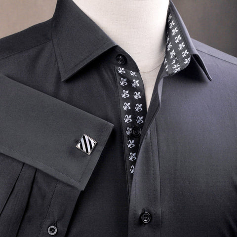 B2B Shirts - Black Poplin Formal Business Dress Shirt Fleur-De-Lis Floral Inner Lining Fashion - Business to Business
