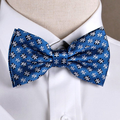 White Inverted Snowflake Blue Floral Bow Tie Australia