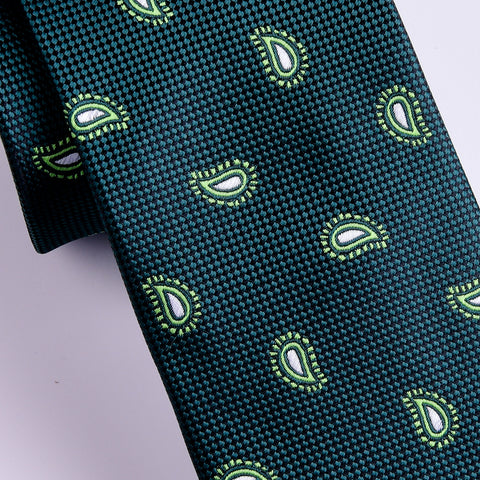 "B2B Shirts - Italian Style Green Paisley 3"" Necktie Business Elegance  For Formal Business Occasion - Business to Business"