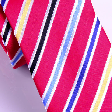 UK Style Red Tri Color 8CM Necktie Business Elegance  For Formal Business Occasion