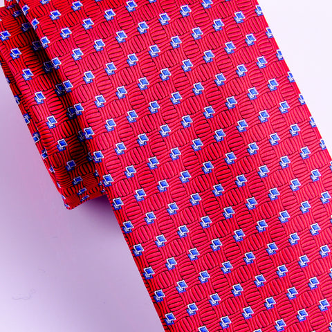 "B2B Shirts - Italian Style Red Blue Dot  3"" Necktie Business Elegance  For Formal Business Occasion - Business to Business"