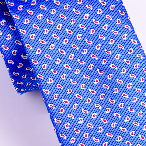"B2B Shirts - Italian Style Light Blue Small Paisley Floral 3"" Necktie Business Elegance  For Formal Business Occasion - Business to Business"
