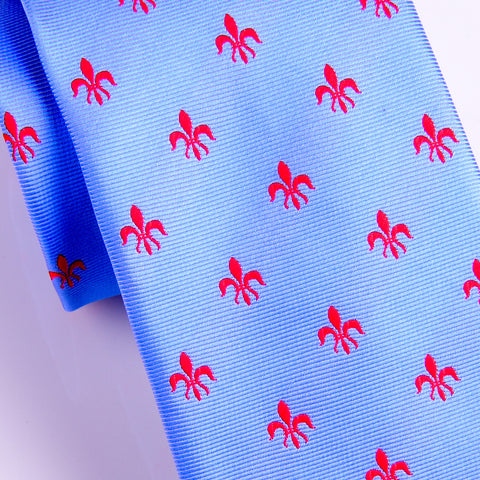 Italian Unique Light Blue Fluer-De-Lis 8cm Necktie Business Elegance  For Formal Business Occasion