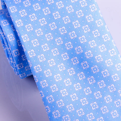 "Italian Style Light Blue Square Dot 3"" Necktie Business Elegance  For Formal Business Occasion"