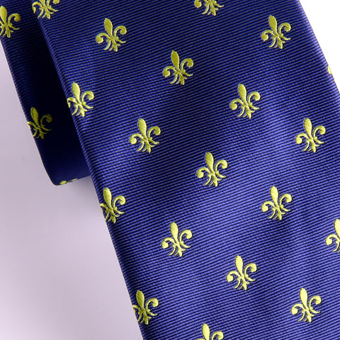 Italian Unique Navy Blue Fluer-De-Lis 8cm Necktie Business Elegance  For Formal Business Occasion