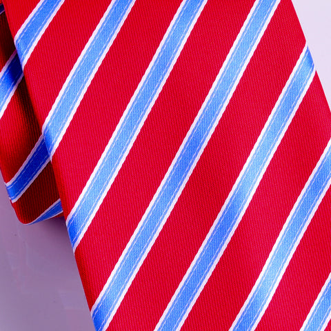 Stylisg Red & Blue Stripe 8 CM  Necktie Business Elegance  For Formal Business Occasion