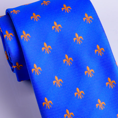 Italian Unique Blue Fluer-De-Lis 8cm Necktie Business Elegance  For Formal Business Occasion