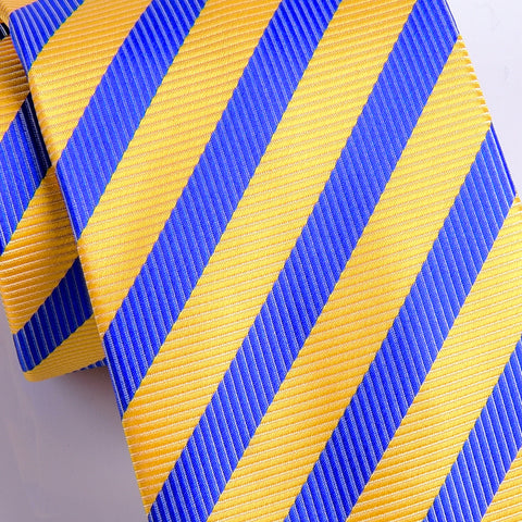 UK Style Goose Yellow & Blue 8 CM  Necktie Business Elegance  For Formal Business Occasion
