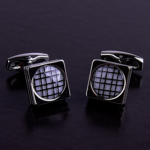 B2B Shirts - Silver Square White Check Smart Cool Cufflinks Only 5 Pairs For Promotion - Business to Business