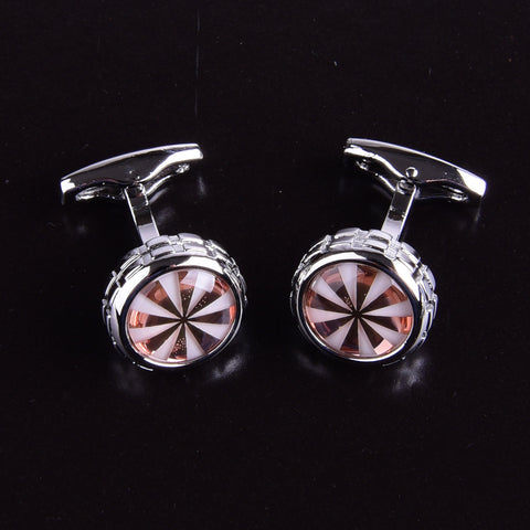 B2B Shirts - White & Rose Gold Pearl Mens Silver Designer Luxury Cufflinks Circle Round Boss - Business to Business