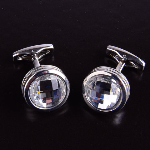 B2B Shirts - Silver Round Button Men's Cuff Links Sexy Luxury Fashion Jewelry Cufflinks - Business to Business