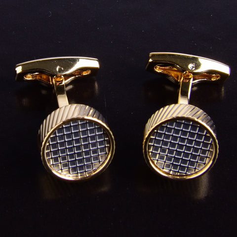 B2B Shirts - Gold Check Designer Men Cufflinks Cool Gift Luxury Cufflinks Circle Round Boss - Business to Business