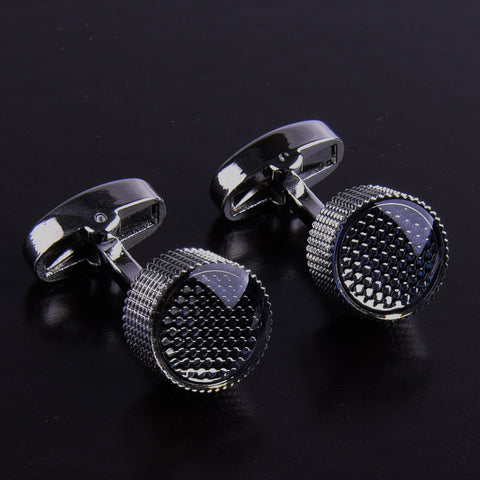 B2B Shirts - Silver Black Round Button Men's Cuff Links Sexy Luxury Top Fashion Jewelry Cufflinks - Business to Business