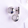 Silver Round Button Men's Cuff Links Sexy Luxury Fashion Jewelry Cufflinks