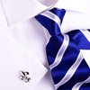 UK Style Navy Blue & Silver 8 CM  Necktie Business Elegance  For Formal Business Occasion
