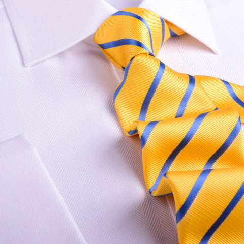 B2B Shirts - Stylisg Yellow & Blue Stripe 8 CM  Necktie Business Elegance  For Formal Business Occasion - Business to Business