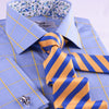 B2B Shirts - Blue Yellow Plaids & Checks Formal Business Dress Shirt Floral Fashion With French Cuffs - Business to Business