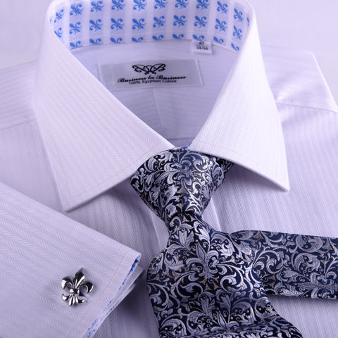 White Twill Herringbone Stripe FLuer-De-Lis Inner Lining Formal Business Dress Shirt