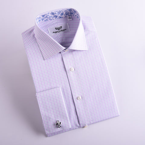 B2B Shirts - Light Pink Check Professional Dress Shirt in Single Cuff in Size 42 - Business to Business