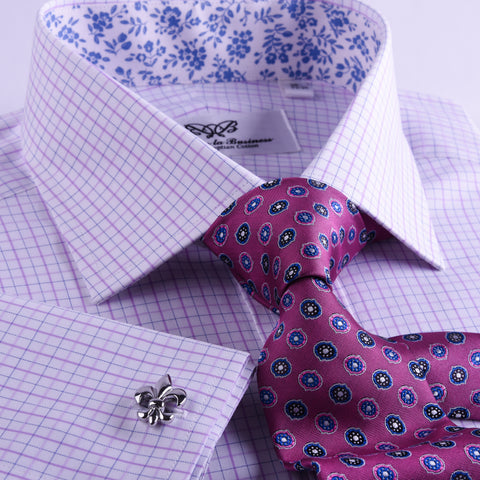 B2B Shirts - Light Pink Gingham Check Formal Business Dress Shirt WIth Blue FLoral Inner Lining Fashion - Business to Business