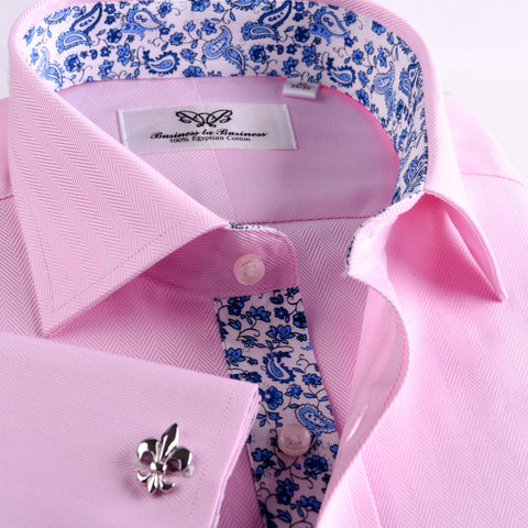 B2B Shirts - Pink Herringbone Twill Business Dress Shirt Formal Stylish Paisley Inner Lining French Double Cuff - Business to Business