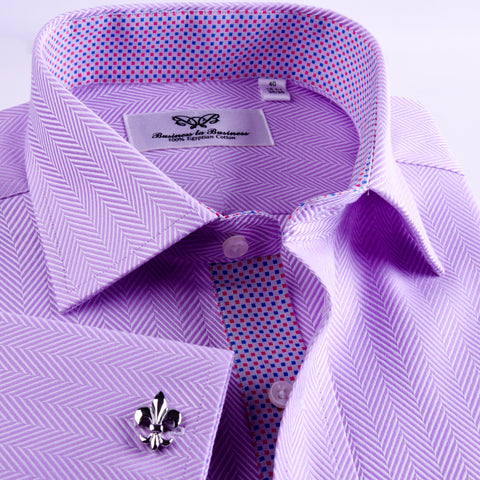 B2B Shirts - Purple Herringbone Twill Formal Business Dress Shirt With Matching Inner Lining Luxury Violet Fashion - Business to Business