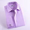 B2B Shirts - Lilac Herringbone Professional Dress Shirt in Double French Cuff in Size 42 - Business to Business