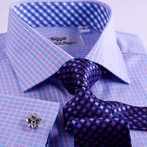 B2B Shirts - Pink White Blue Tattersall Plaid Checkered Formal Business Dress Shirt - Business to Business